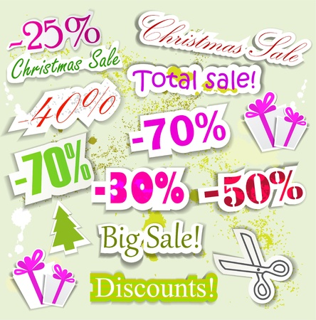 Christmas Sale. Paper discount coupons Vector