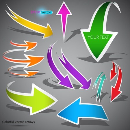 turn yellow: Colorful arrows on grey background. Vector illustration Illustration