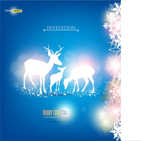 Elegant Christmas background with deers. Vector Illustration with place for text. Vector