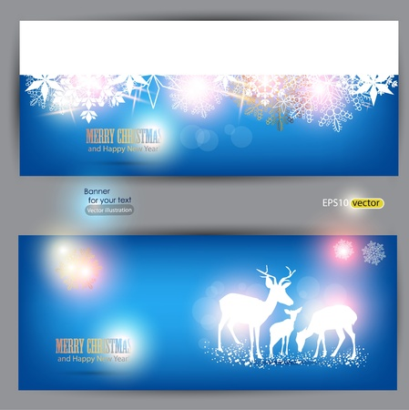 Elegant Christmas banners with deers. Vector Illustration with place for text. Vector