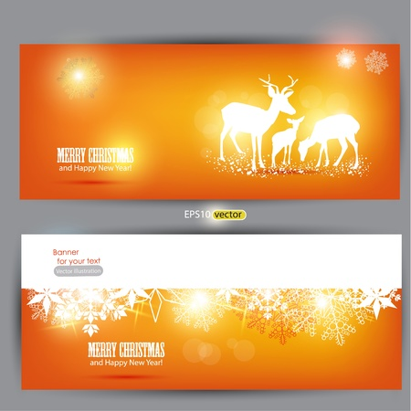 Elegant Christmas banners with deers. Vector Illustration with place for text. Stock Vector - 11245507