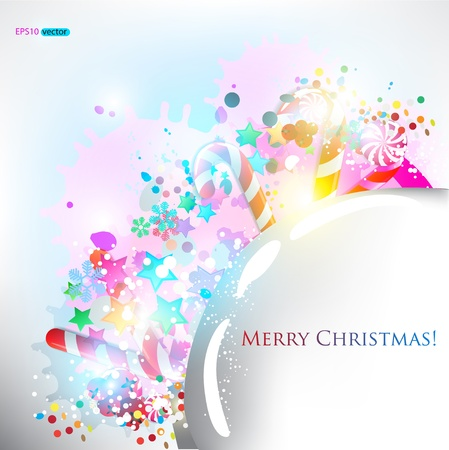 Abstract glossy speech bubble with Christmas candy. Vector background Vector