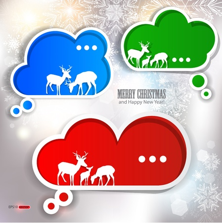 Paper speech bubble. Winter design Stock Vector - 11245520