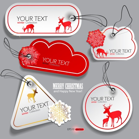 Set of winter bubbles, stickers, labels, tags. Vector  illustration Vector