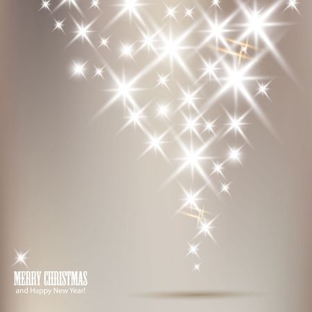 Elegant Christmas background with shiny stars and place for text. Vector