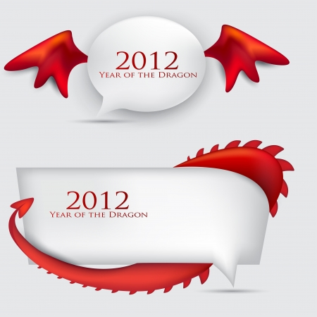Bubbles for speech. 2012 year of Dragon. Vector
