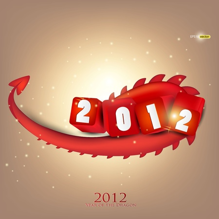 Greeting card. 2012 year of Dragon. Vector