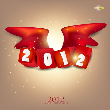 Greeting card. 2012 year of Dragon. Stock Vector - 11426305
