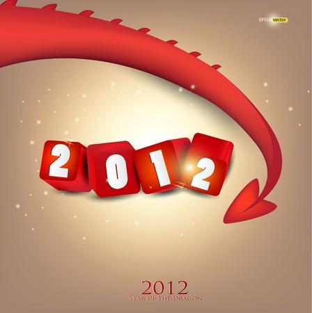 Greeting card. 2012 year of Dragon. Vector