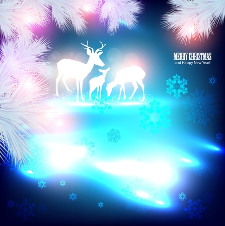 Blue beautiful Christmas background with reindeer. Vector