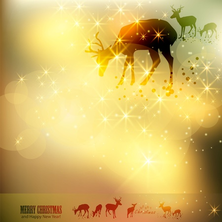 Beautiful Christmas background with reindeer and place for text. Vector