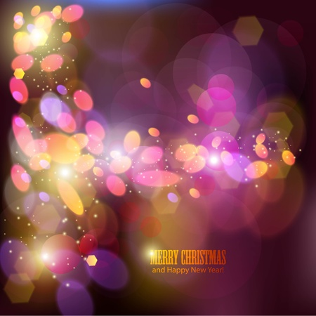 Elegant Christmas background with place for text. Illustration. Bokeh. Vector
