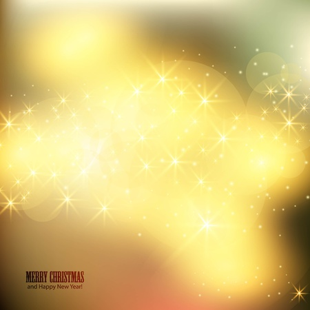 golden  gleam: Elegant Christmas background with shiny stars and place for text.