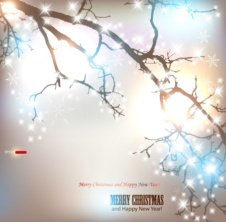 Elegant nature background with place for text. Winter tree with snowflakes