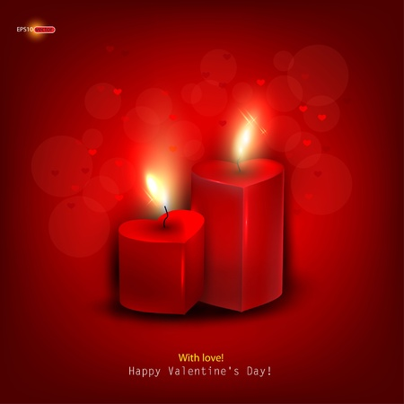burning heart: Two red burning heart shaped candles on dark red background. Vector background