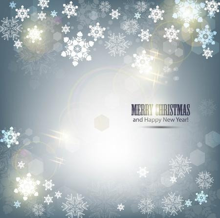 Élégant fond de Noël avec des flocons de neige et le lieu pour le texte. Illustration Vecteur.