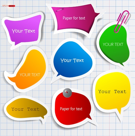 paperclip: Colorful paper bubble for speech Illustration