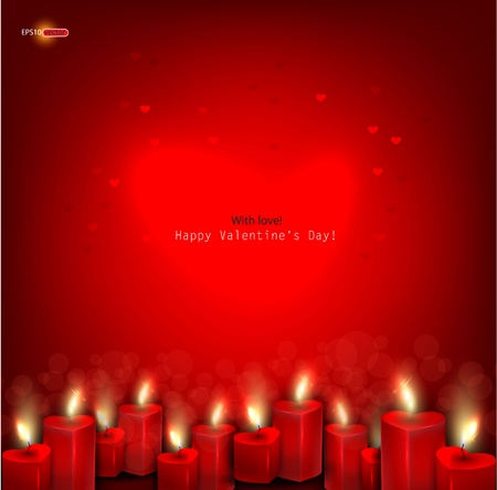 Two red burning heart shaped candles on dark red background. Vector background Vector