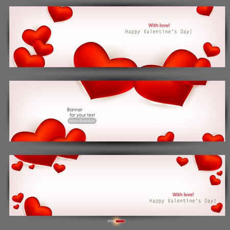vector hearts: Set of three banners with red hearts. Valentines Day. Vector background Illustration
