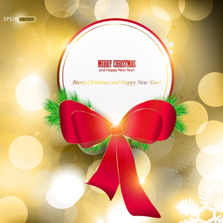 Elegant Christmas background with red ribbon and place for text. Vector Illustration. Vector