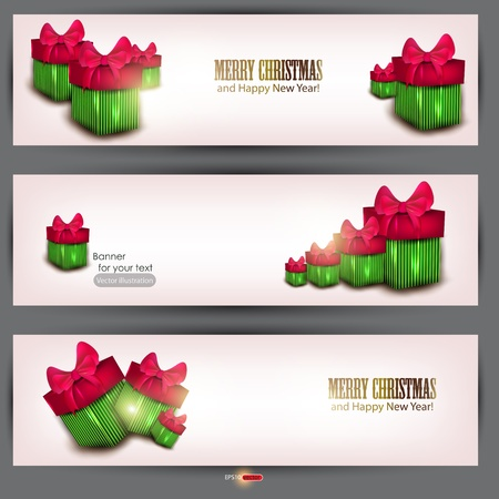 Set of three banners with  beautiful gifts. Vector illustration Stock Vector - 11655658