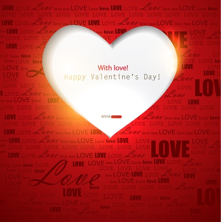 shiny heart: Gift card. Valentines Day. Vector background Illustration