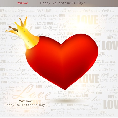coronal: Beautiful red heart with crown. Valentines day. Vector background Illustration