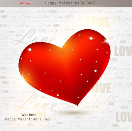 Beautiful red heart with diamonds. Valentines day. Vector background Vector