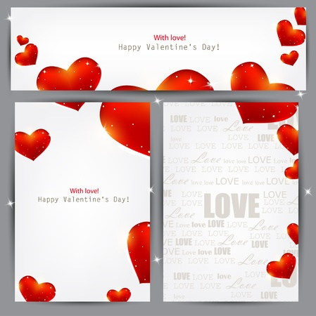 Set of three banners with red hearts. Valentine Vector