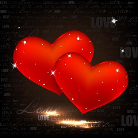 corazon cristal: Hermosos corazones rojos con diamantes. D�a de San Valent�n. Vector de fondo