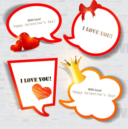 origami banner: Colorful paper bubble for speech. Valentines day. Vector background Illustration