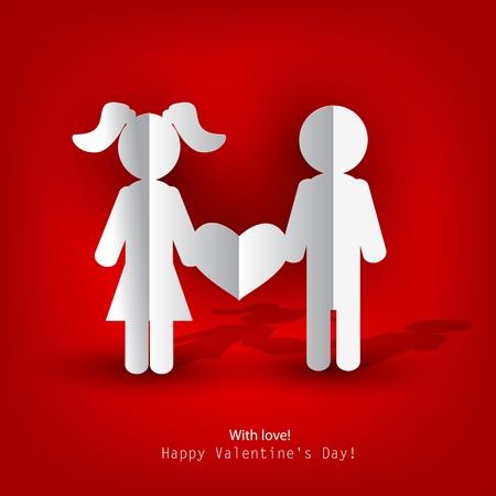 enamorados caricatura: Los hombres blancos de papel y de la mujer con el coraz�n sobre fondo rojo. Ilustraci�n vectorial