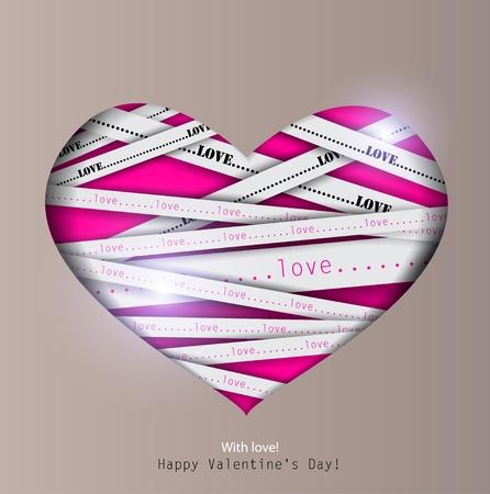 secret love: Gift card. Valentines Day. Vector background Illustration