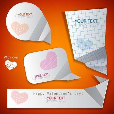Paper speech bubble. Valentines Day. Vector illustration Vector