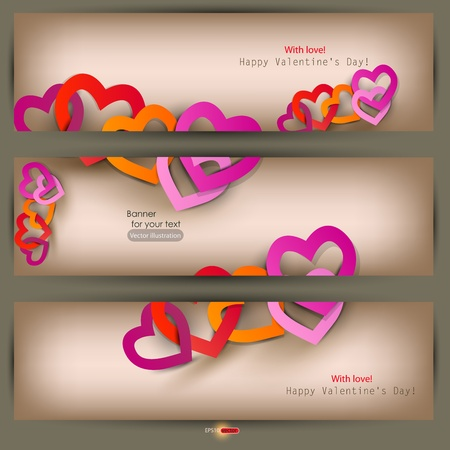 Set of three banners with paper hearts. Valentines Day. Vector illustration Vector