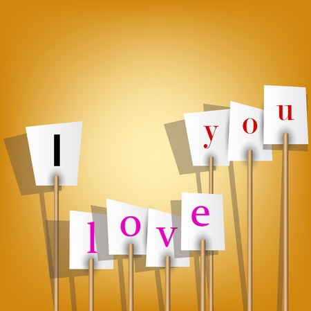 Vector white posters with inscription -  I love you. Vector