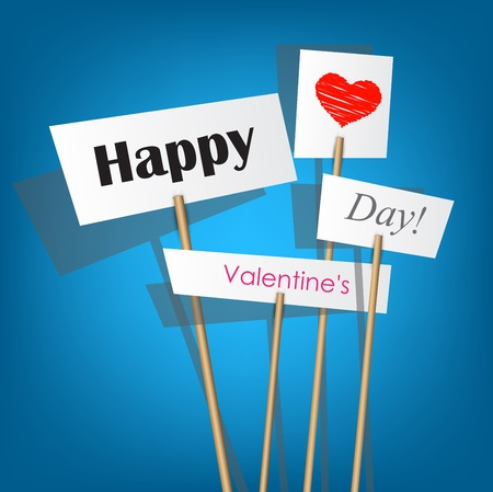 Vector white posters with inscription - Happy Valentines Day Vector