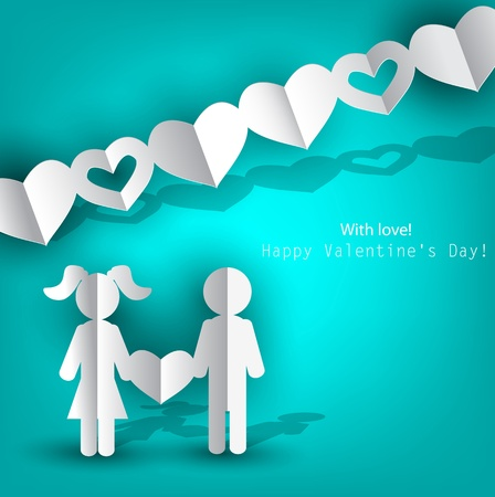 3d paper art: White  paper Men and Woman with heart on blue background. Vector illustration
