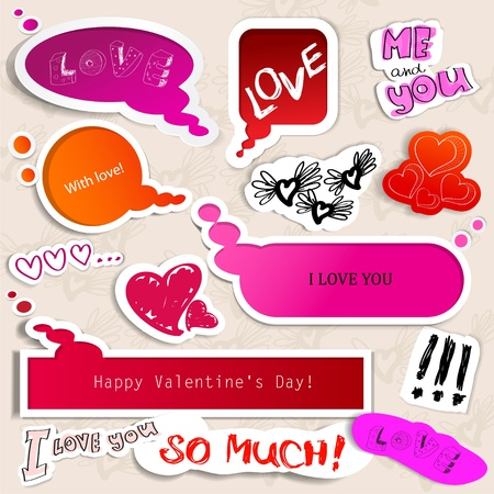 Colorful paper bubble for speech. Valentines day. Stock Vector - 11986223