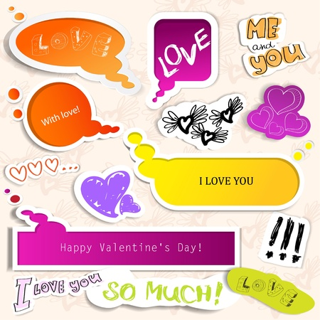 felt tip pen: Colorful paper bubble for speech. Valentines day.  Illustration