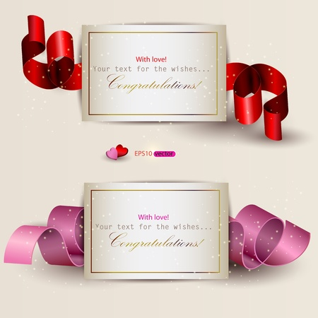 Collection of gift cards with ribbons. Vector background Stock Vector - 11986237