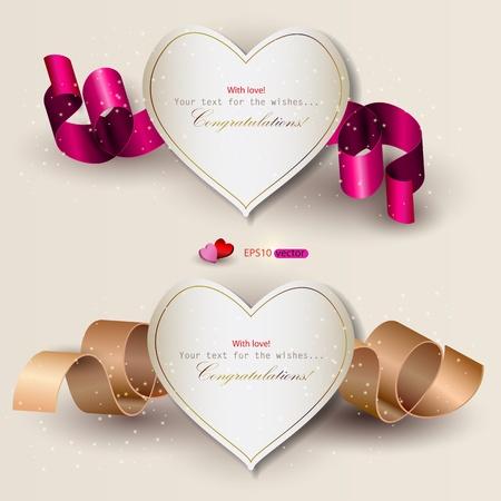 bröllop: Insamling av presentkort med band. Vektor bakgrund