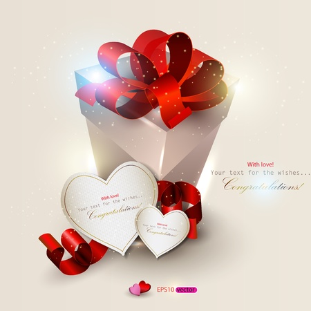 Elegant background with gift and gift cards. Vector illustration Stock Vector - 11986235