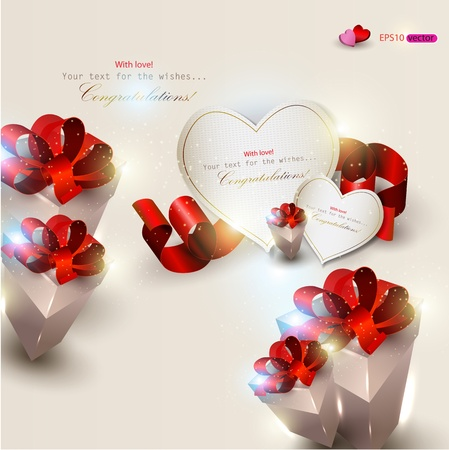 Elegant background with gifts and gift cards Vector