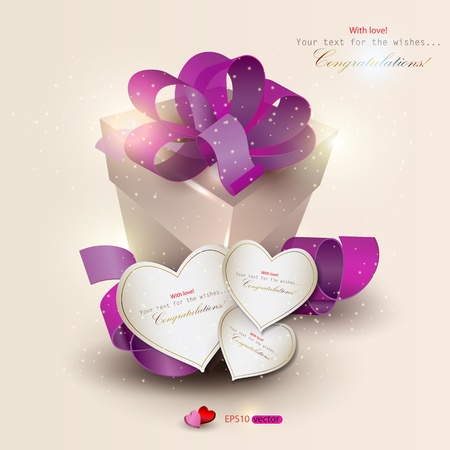 Elegant background with gift and gift cards. Vector illustration Vector