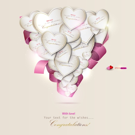 pink satin: Elegant background with gift cards. Vector hearts Illustration