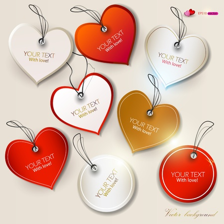 Set of  bubbles, stickers, labels, tags. Shape of hearts. Valentines Day Vector