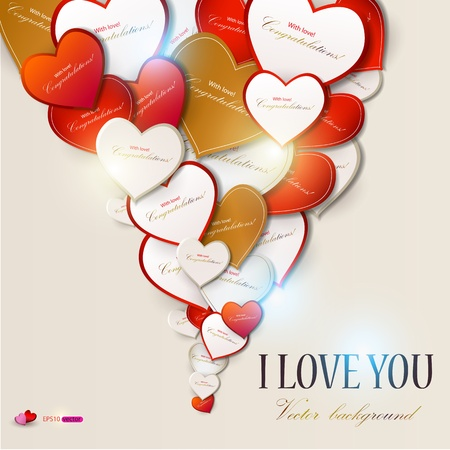valentine passion: Elegant background with vector hearts. Valentines Day Illustration