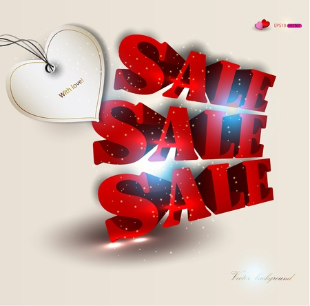 3d red text SALE. background Stock Vector - 12075874