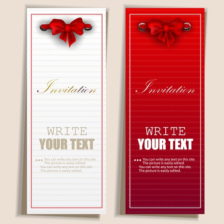 invitacion fiesta: Notas de cartas con las cintas. Invitaciones rojas y blancas Vectores